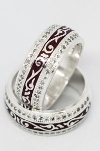 Кольца с эмалью и фианитами