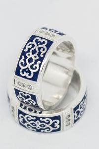 Кольцо серебряное. Эмаль. Фианиты 1,5 мм, 12 шт_1